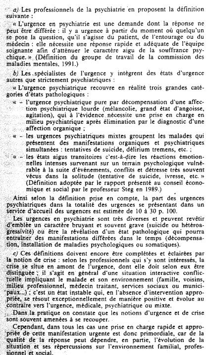 Les interventions psychiatriques